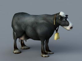 Animated Dairy Cow Rig 3d preview