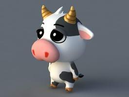 Cartoon Cow Rig 3d model preview