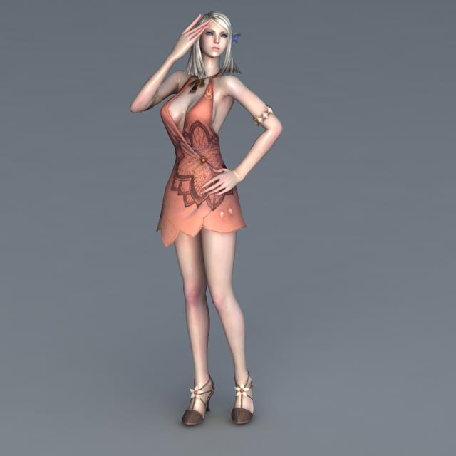 Animated High Elf Girl 3d rendering