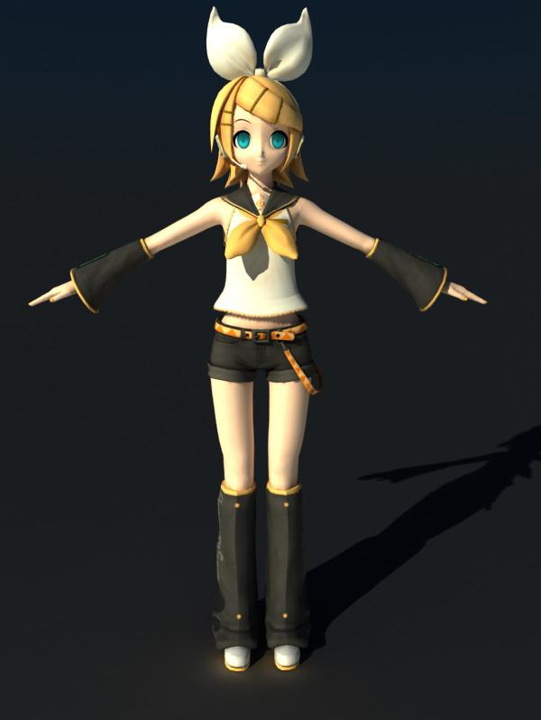 Kagamine Rin 3d rendering