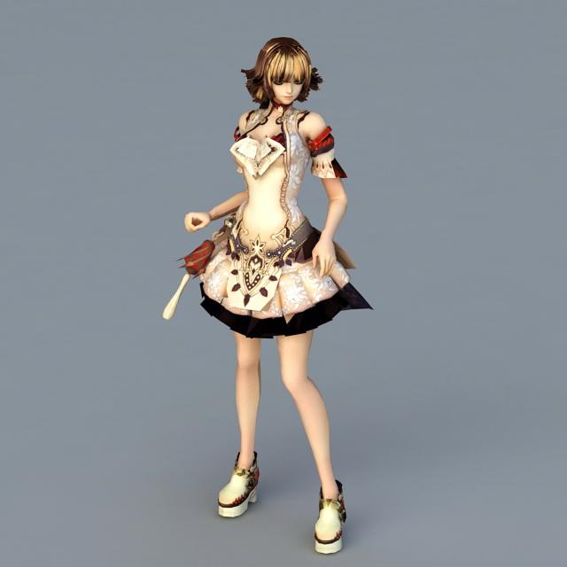 Cute Anime Girl 3d rendering