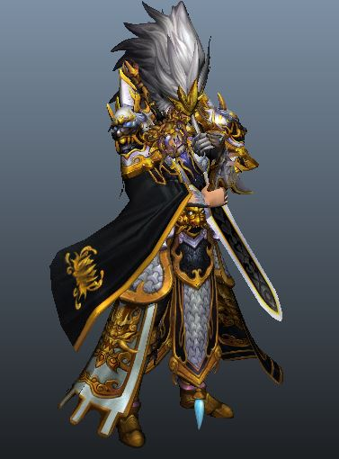 Anime Male Swordsman 3d rendering