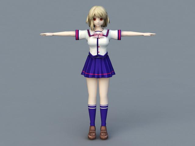 Anime Schoolgirl Vampire 3d rendering