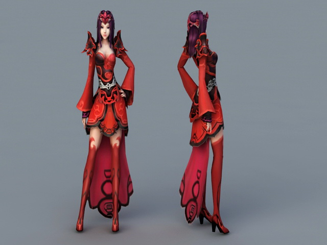 Anime Demon Princess 3d rendering
