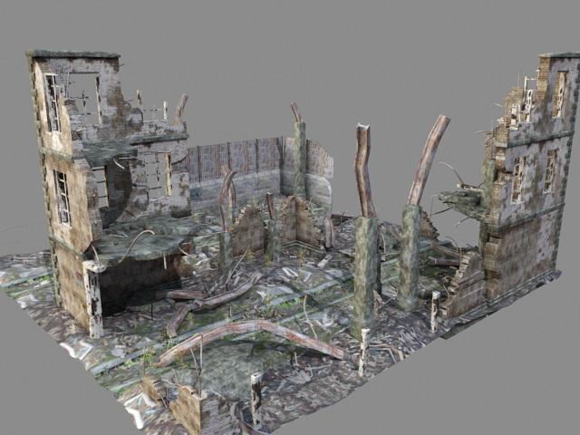 War Zone Ruined buildings 3d rendering