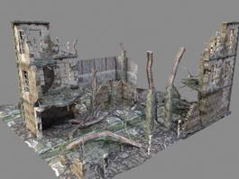 War Zone Ruined buildings 3d preview
