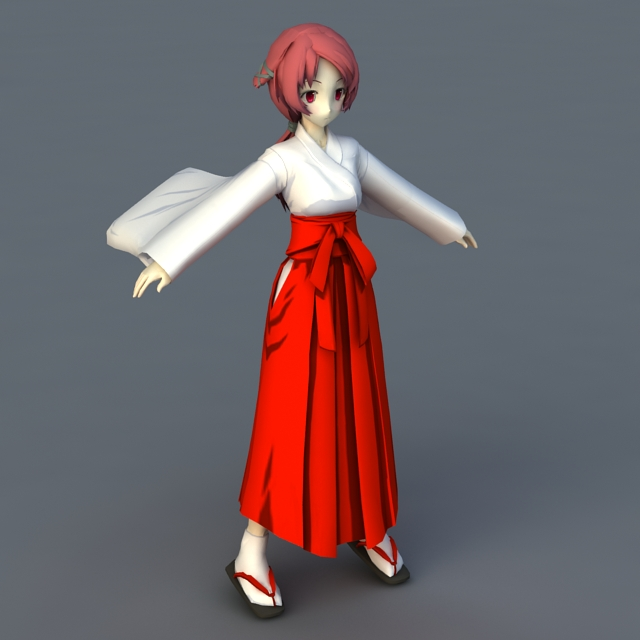 Japanese Anime Girl Character 3d rendering
