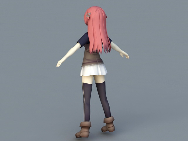 Red Haired Anime Girl 3d rendering