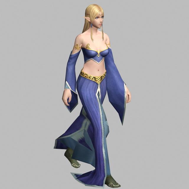 Elf Princess Walking 3d rendering