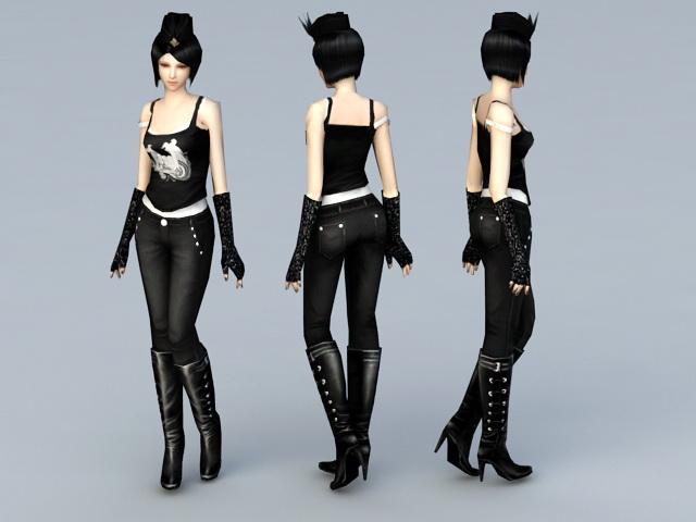 Emo Scene Girl 3d rendering