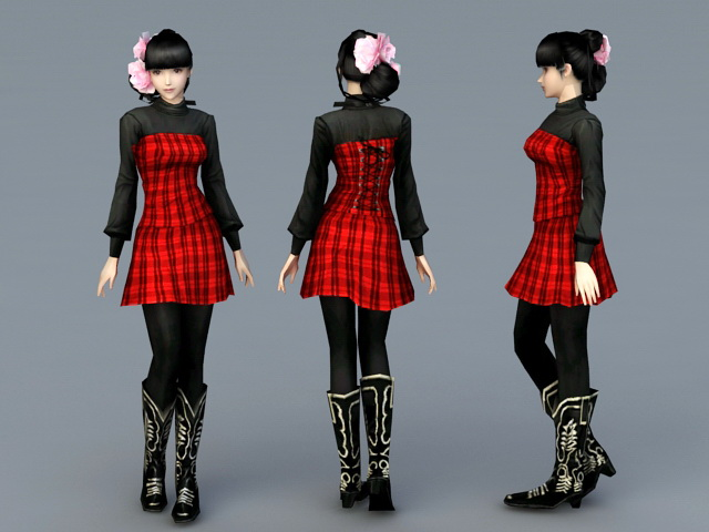 Preppy Girl 3d rendering