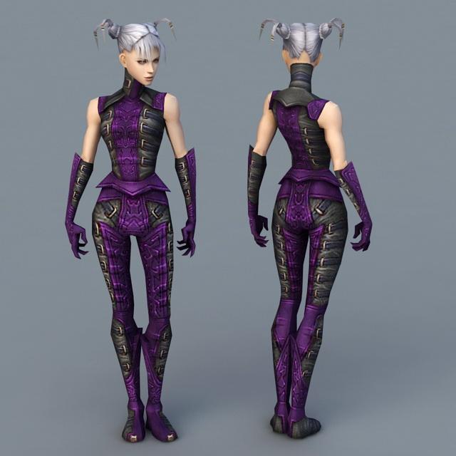 Anime Female Necromancer 3d rendering