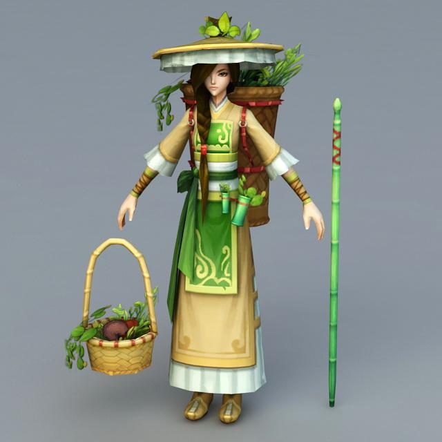 Chinese Peasant Girl 3d rendering