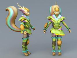 Humanoid Female Fox 3d preview