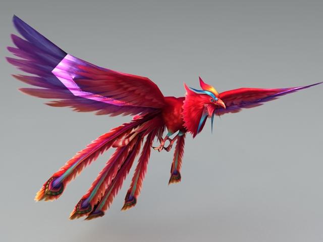 Red and Purple Phoenix 3d rendering