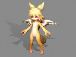 Anime Fox Girl with Wings 3d preview