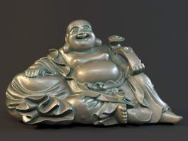 Sitting Laughing Buddha Statue 3d model preview