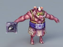 Humanoid Boar Warrior 3d preview