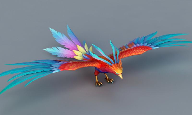 Rainbow Phoenix Bird 3d rendering