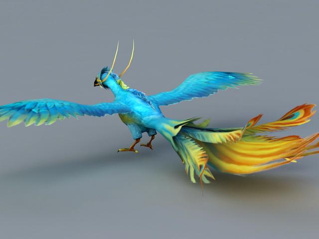 Blue Phoenix Bird 3d rendering