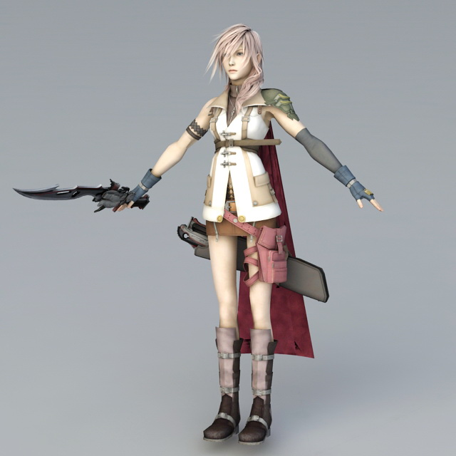 FFX 13 Lightning 3d rendering