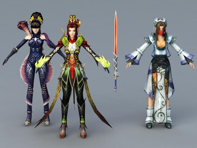 Chinese Swordswoman 3d rendering
