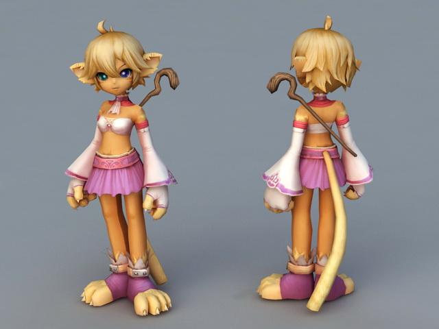 Anime Cat Girl Mage 3d rendering