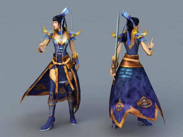 Anime Swordswoman 3d rendering