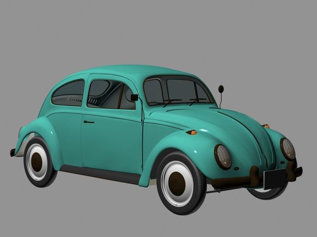 Old VW Beetle 3d rendering