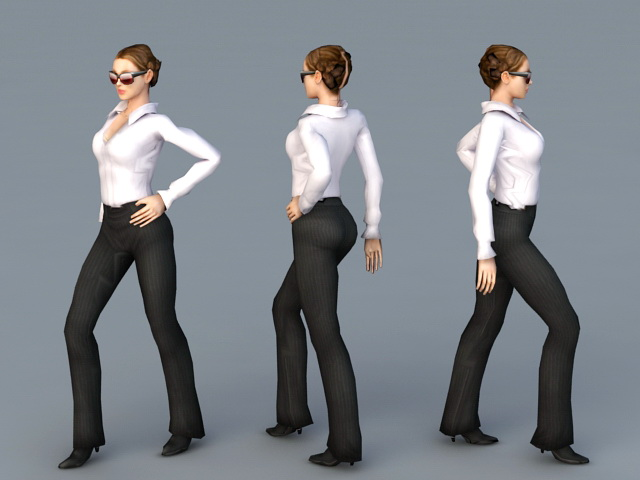 Beautiful Office Lady 3d rendering