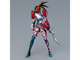 Anime Female Assassin Character 3d preview