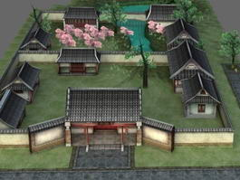 Ancient Chinese Courtyard House 3d preview