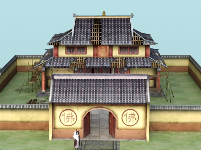 Old Asian Temple 3d rendering