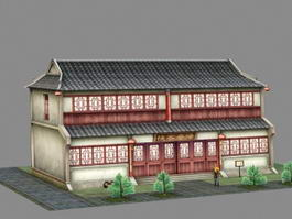 Ancient Chinese Inn Tavern 3d preview