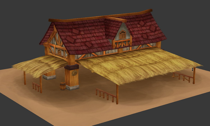 Horse Stable 3d rendering