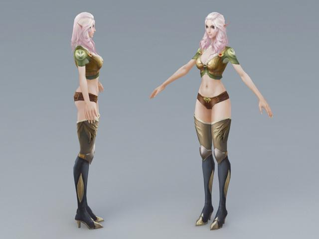 Beautiful Elf Woman 3d rendering