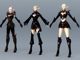 High Elf Female Armor Set 3d preview