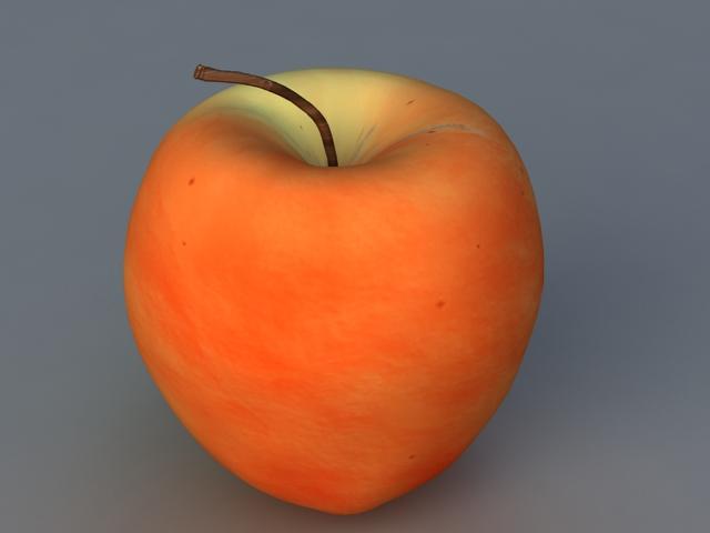 Red Macintosh Apple 3d rendering