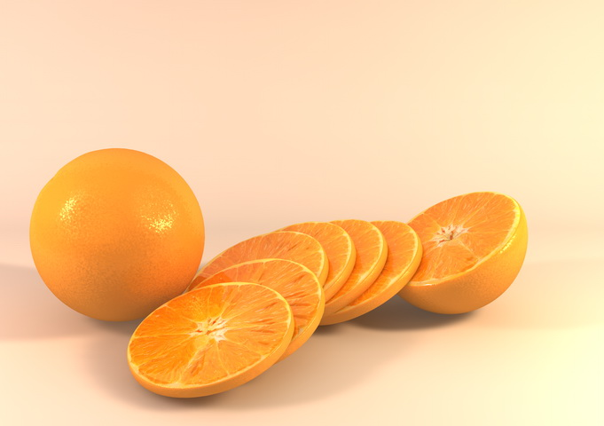 Orange and Slices 3d rendering