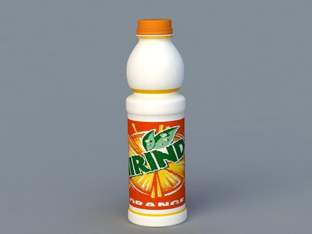 Orange Soda Bottle 3d rendering