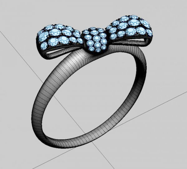 Gem and Gold Butterfly Ring 3d rendering