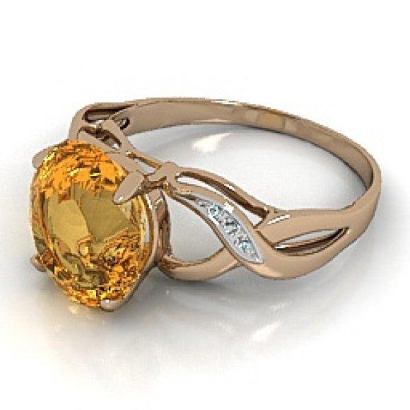 Golden Topaz Ring 3d rendering