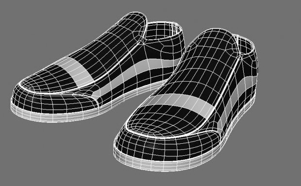 Black and White Vans Shoes 3d rendering