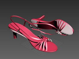Red Sandal Heels 3d preview