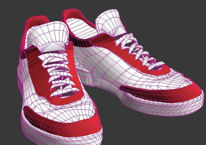 Red and White Basketball Shoes 3d rendering