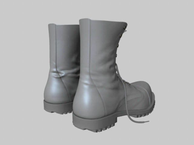 Black Combat Boots 3d rendering