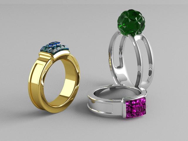 Rings with Gemstones 3d rendering