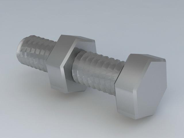 Nut & Bolt 3d rendering