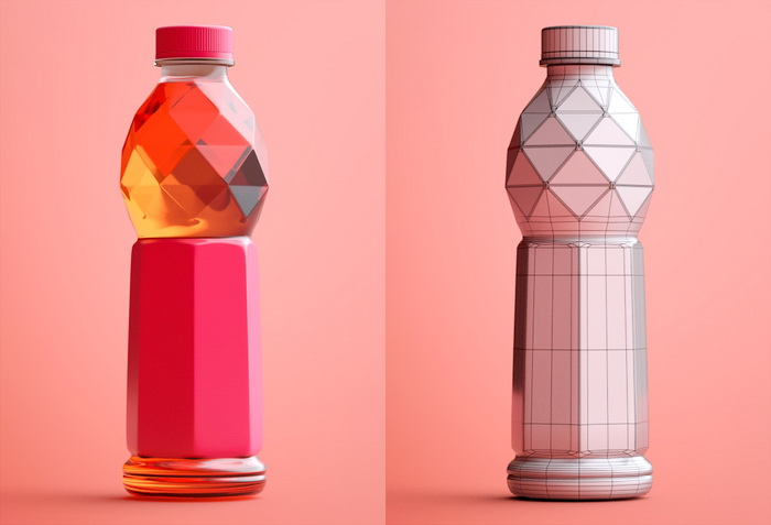 Plastic Beverage Bottle 3d rendering