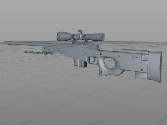 AWP Sniper Rifle Rigged 3d rendering